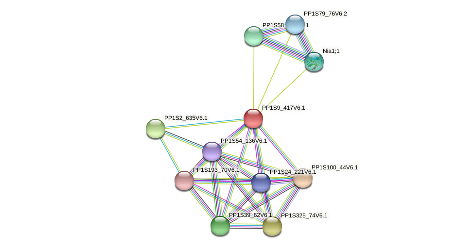 PP1S9_417V6.1 protein (Physcomitrella patens) - STRING interaction network