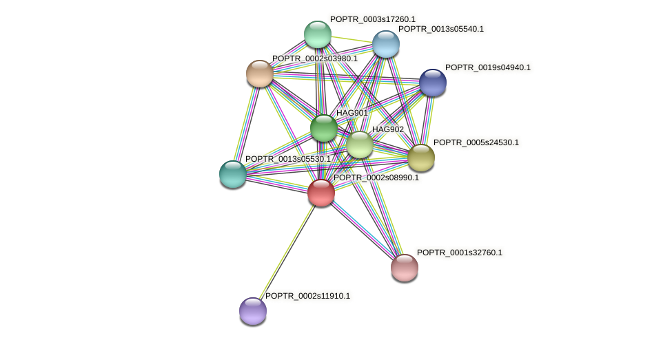 POPTR_0002s08990.1 protein (Populus trichocarpa) - STRING interaction network