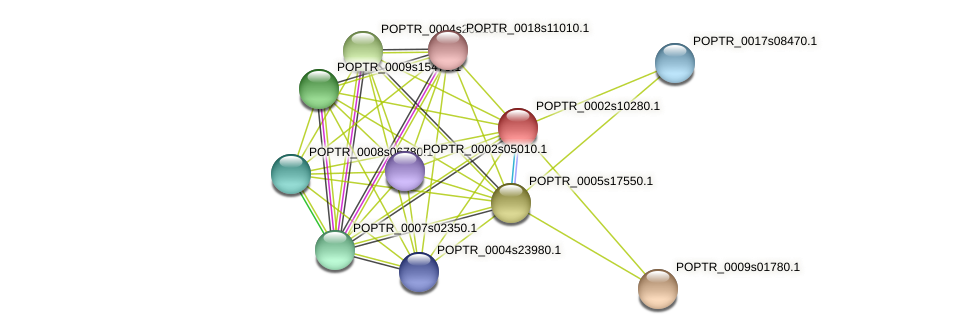 POPTR_0002s10280.1 protein (Populus trichocarpa) - STRING interaction network