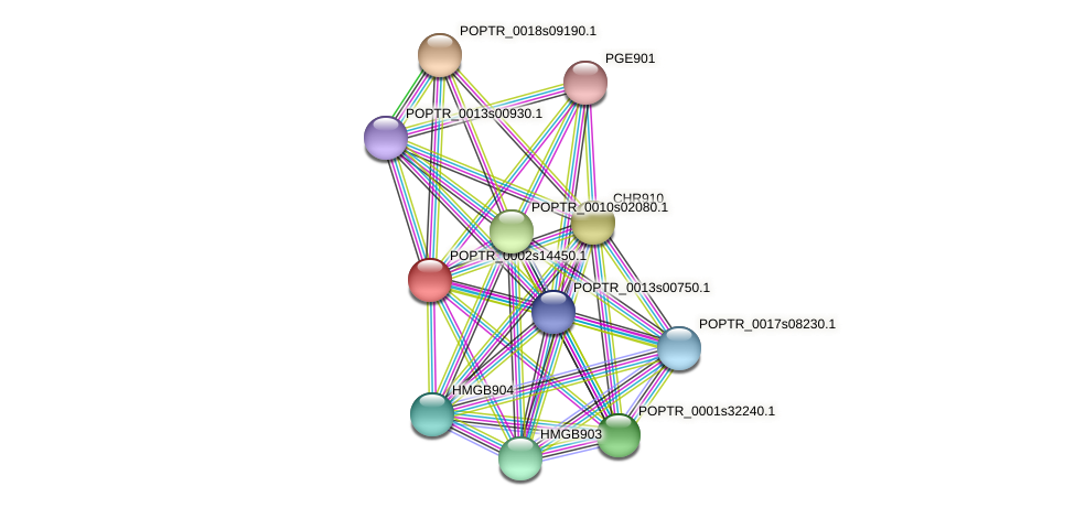 POPTR_0002s14450.1 protein (Populus trichocarpa) - STRING interaction network