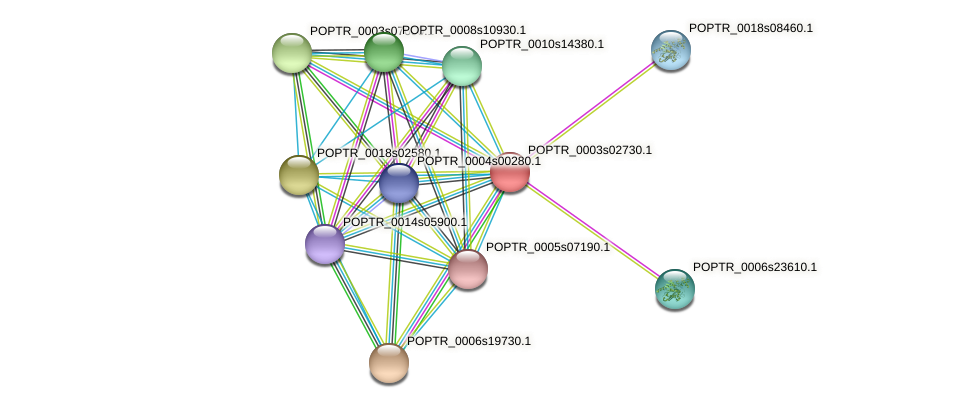 POPTR_0003s02730.1 protein (Populus trichocarpa) - STRING interaction network