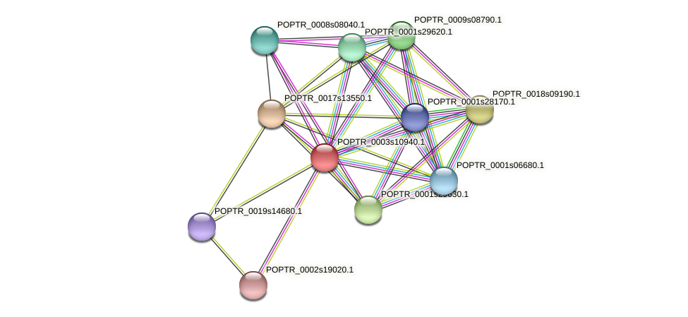 POPTR_0003s10940.1 protein (Populus trichocarpa) - STRING interaction network