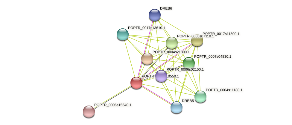 POPTR_0005s10550.1 protein (Populus trichocarpa) - STRING interaction network