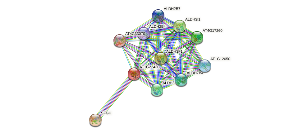 AT1G22430 protein (Arabidopsis thaliana) - STRING interaction network