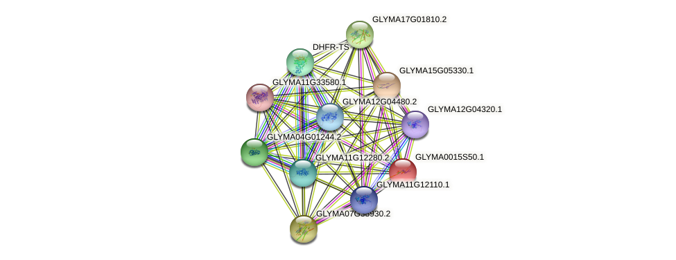 GLYMA0015S50.1 protein (Glycine max) - STRING interaction network