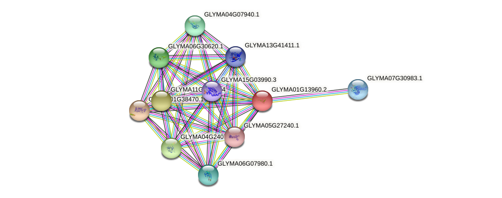 GLYMA01G13960.2 protein (Glycine max) - STRING interaction network