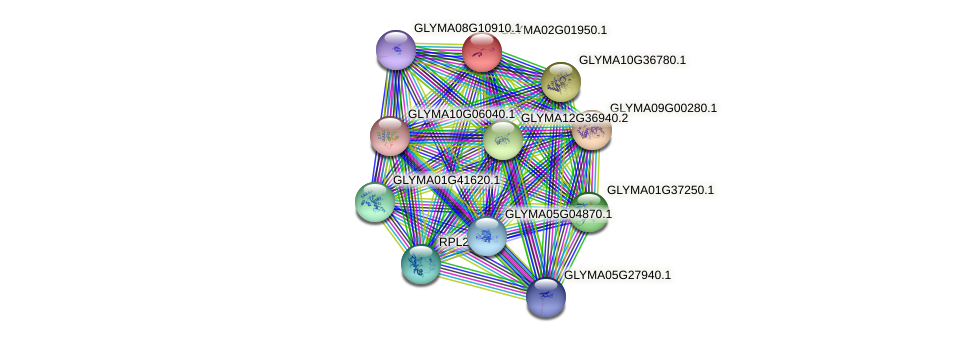 GLYMA02G01950.1 protein (Glycine max) - STRING interaction network