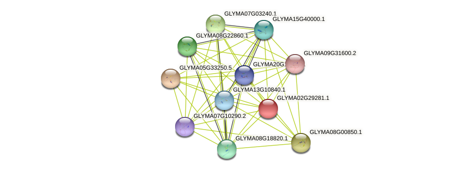 GLYMA02G29281.1 protein (Glycine max) - STRING interaction network