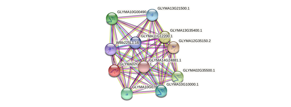 GLYMA02G39540.1 protein (Glycine max) - STRING interaction network