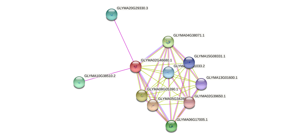 GLYMA02G46680.1 protein (Glycine max) - STRING interaction network