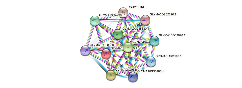GLYMA02G46900.1 protein (Glycine max) - STRING interaction network