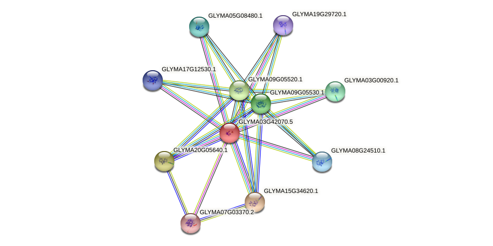 GLYMA03G42070.3 protein (Glycine max) - STRING interaction network