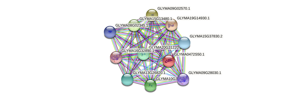 GLYMA0472S50.1 protein (Glycine max) - STRING interaction network