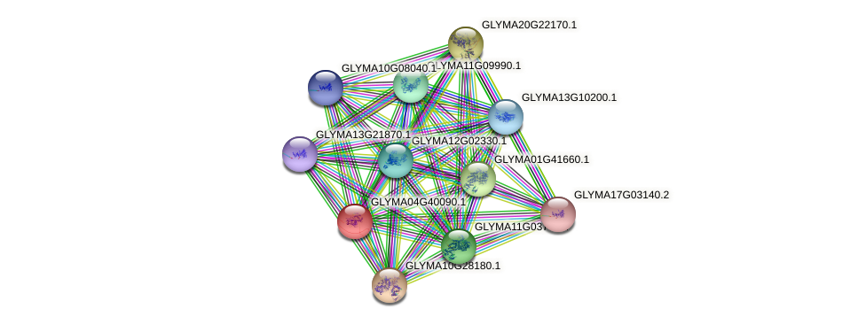 GLYMA04G40090.1 protein (Glycine max) - STRING interaction network