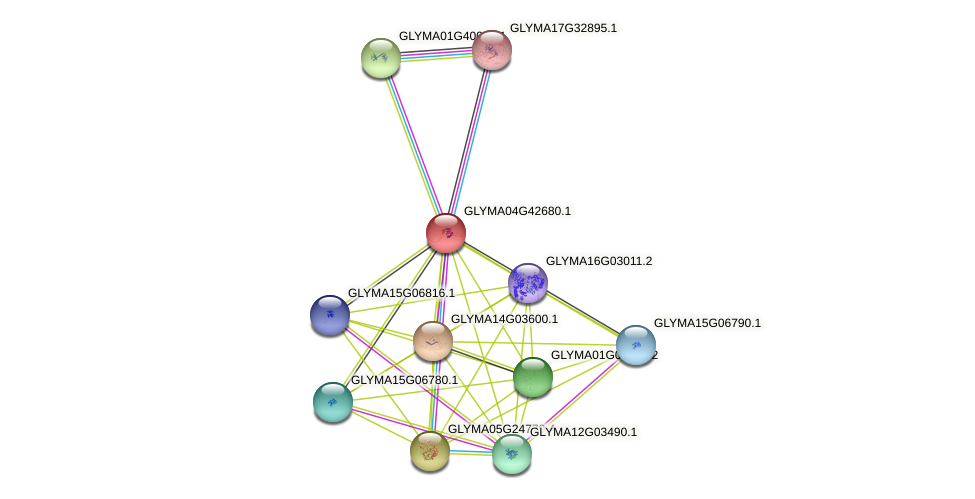 GLYMA04G42680.1 protein (Glycine max) - STRING interaction network