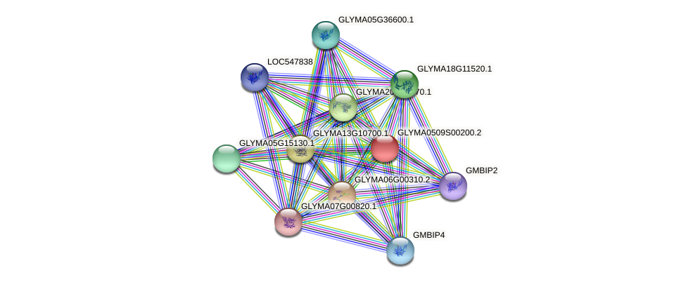GLYMA0509S00200.2 protein (Glycine max) - STRING interaction network
