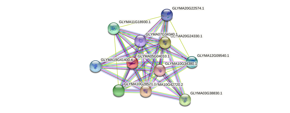 GLYMA05G04010.1 protein (Glycine max) - STRING interaction network