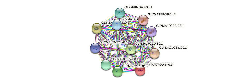 GLYMA07G04640.1 protein (Glycine max) - STRING interaction network