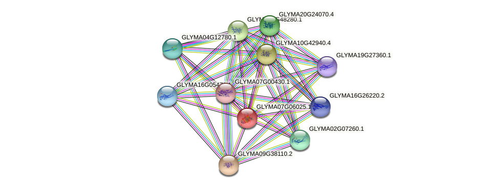 GLYMA07G06025.1 protein (Glycine max) - STRING interaction network