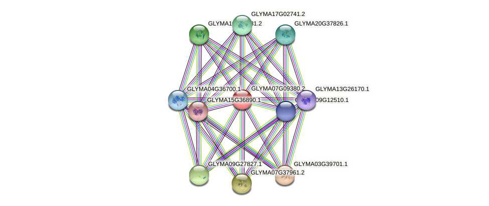 GLYMA07G09380.2 protein (Glycine max) - STRING interaction network