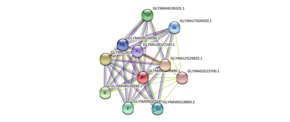 GLYMA07G09990.1 protein (Glycine max) - STRING interaction network