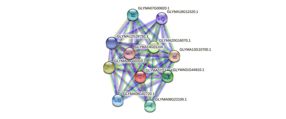 GLYMA07G14540.1 protein (Glycine max) - STRING interaction network