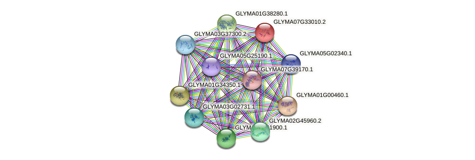 GLYMA07G33010.2 protein (Glycine max) - STRING interaction network