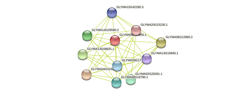 GLYMA08G00850.1 protein (Glycine max) - STRING interaction network