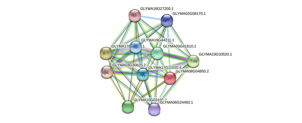 GLYMA08G04850.2 protein (Glycine max) - STRING interaction network