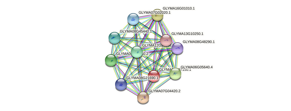 GLYMA08G07150.1 protein (Glycine max) - STRING interaction network