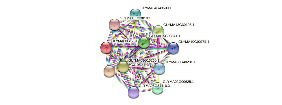GLYMA08G17310.2 protein (Glycine max) - STRING interaction network