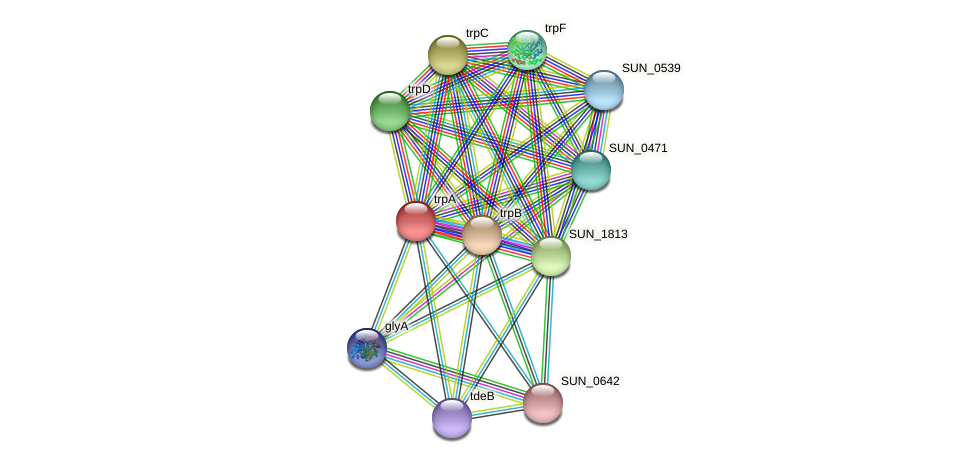 trpA protein (Sulfurovum sp. NBC371) - STRING interaction network