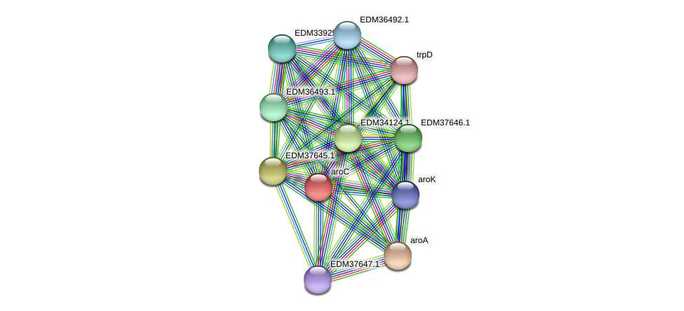 aroC protein (Pedobacter sp. BAL39) - STRING interaction network