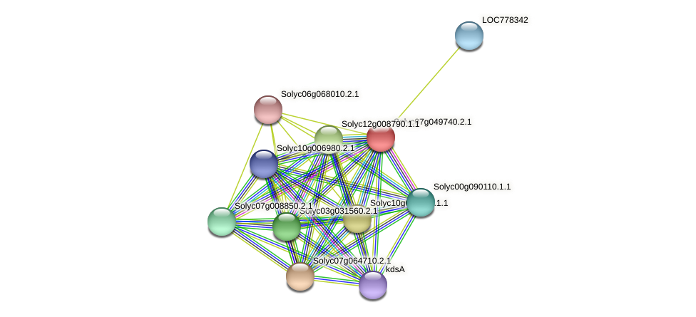 Solyc07g049740.2.1 protein (Solanum lycopersicum) - STRING interaction network