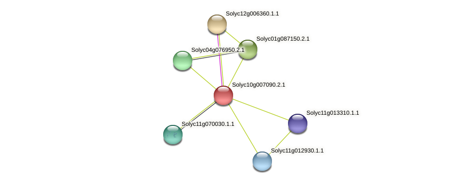 Solyc10g007090.2.1 protein (Solanum lycopersicum) - STRING interaction network