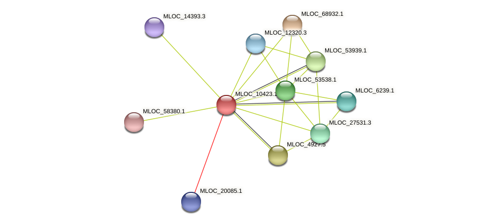 MLOC_10423.1 protein (Hordeum vulgare) - STRING interaction network