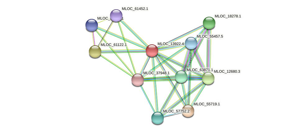 MLOC_13922.4 protein (Hordeum vulgare) - STRING interaction network