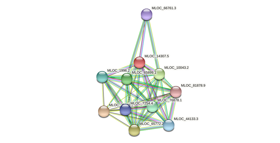 MLOC_14307.5 protein (Hordeum vulgare) - STRING interaction network