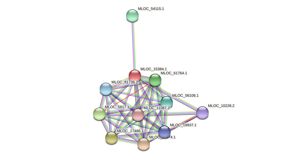 MLOC_15384.1 protein (Hordeum vulgare) - STRING interaction network