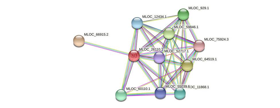 MLOC_26110.1 protein (Hordeum vulgare) - STRING interaction network