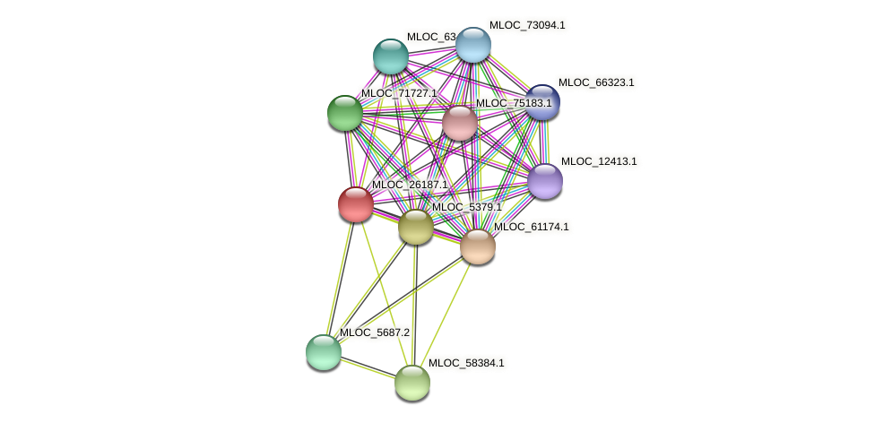 MLOC_26187.1 protein (Hordeum vulgare) - STRING interaction network