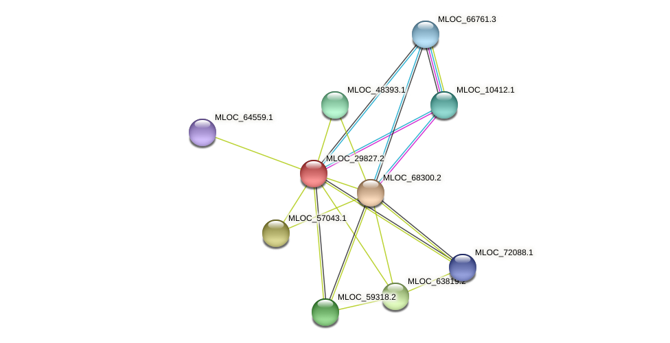 MLOC_29827.2 protein (Hordeum vulgare) - STRING interaction network