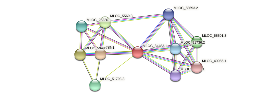 MLOC_34483.1 protein (Hordeum vulgare) - STRING interaction network