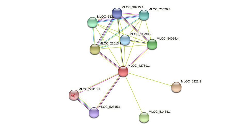 MLOC_42759.1 protein (Hordeum vulgare) - STRING interaction network