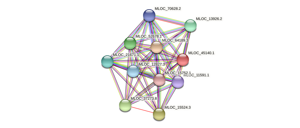 MLOC_45140.1 protein (Hordeum vulgare) - STRING interaction network