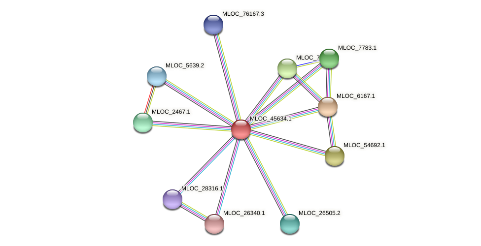 MLOC_45634.1 protein (Hordeum vulgare) - STRING interaction network