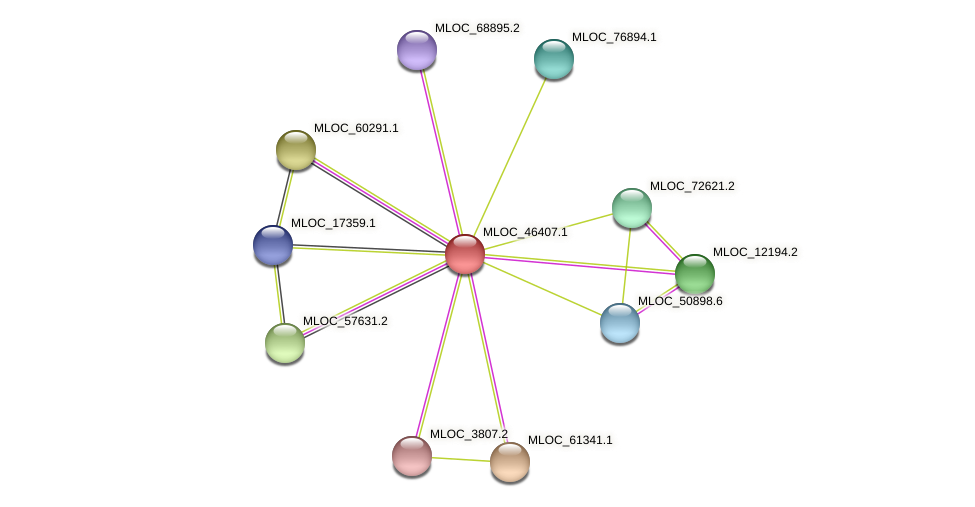 MLOC_46407.1 protein (Hordeum vulgare) - STRING interaction network