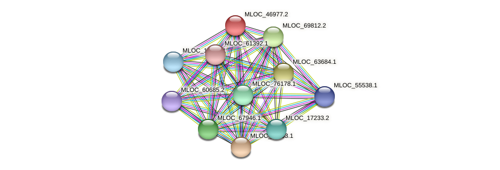 MLOC_46977.2 protein (Hordeum vulgare) - STRING interaction network