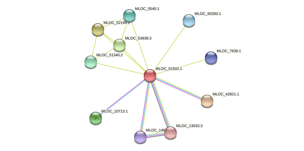 MLOC_51502.1 protein (Hordeum vulgare) - STRING interaction network