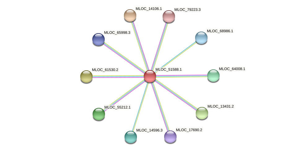 MLOC_51588.1 protein (Hordeum vulgare) - STRING interaction network